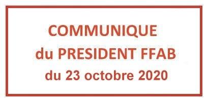 Communiqué FFAB 23/10/2020